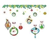 QTZJYLW DIY Weihnachten Wand Sticker Fenster Glas Festival Aufkleber Cartoon Alter Mann Schneemann Hängenden Ball Pattern Jahr Weihnachten Dekorationen Für Home Decor (45 cm × 60 cm)