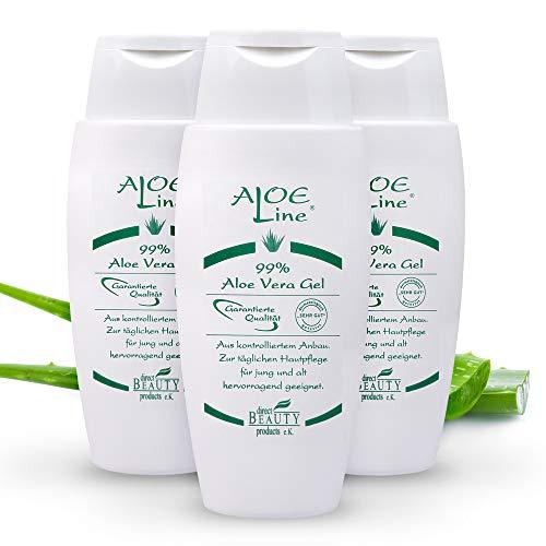 Bio Aloe Vera GEL 99% 3x150ml | Dermatologisch getestet mit SEHR GUT | ohne Duft- & Farbstoffe - ohne Parabene - ohne Mineralöle | Naturkosmetik | Vegan | Pflege für Haut- & Haar | Made in Germany