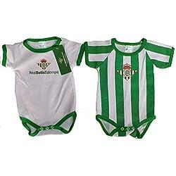 adp Conjunto de 2 Bodys Unisex para Bebe Real Betis Balompie. 3 Meses