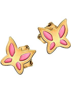 CLEVER SCHMUCK Goldene kleine Mini Ohrstecker Schmetterling flach 5 mm glänzend innen alles rosa lackiert glänzend...