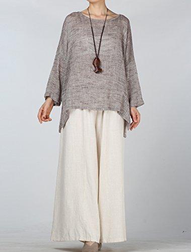 Vogstyle Damen Sommer Lose Plain T-Shirt Baumwoll Leinen Basic Jersey Tunika Tops Kaffee