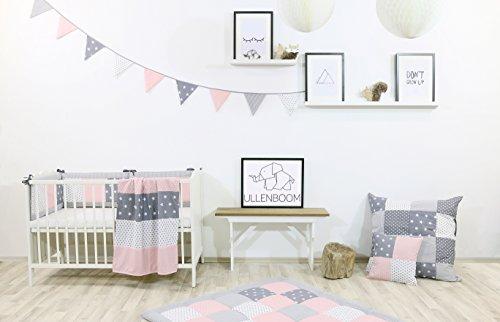 BEBILINO ® Wimpelkette Rosa Grau (Stoff-Girlande: 1,9 m Länge, 5 Wimpel, farbenfrohe Deko für Kinderzimmer & Baby Geburtstage, Motiv: Sterne) - 4