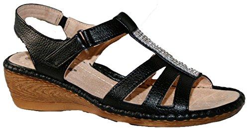 Cushion Walk leichte Sommersandale für Damen, mit Fersenriemen und Keilabsatz schwarz/strasssteine