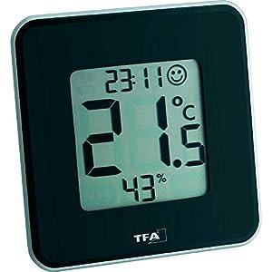 TFA Dostmann Style digitales Thermo-Hygrometer, 30.5021.01, zur Raumklimakontrolle, schwarz