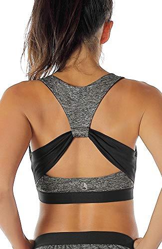 icyzone Damen Sport-BH mit Gepolstert Yoga BH Starker Halt Bustier Stretch Sports Bra Fuer Fitness-Training (Charcoal, S)