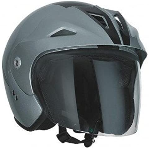 Speeds–Casco moto Jet sportive argento/nero lucido