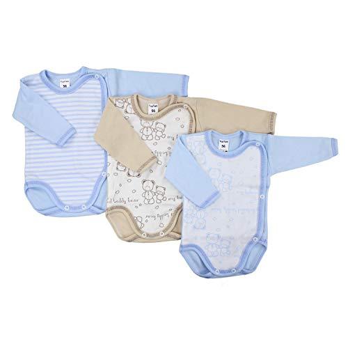 TupTam Unisex Baby Langarm Wickelbody Baumwolle 3er Pack , Farbe: Junge, Größe: 62