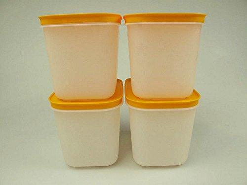 TUPPERWARE 4x 1,1 L Gefrier-Behälter hoch Eis-Kristall Eiskristall weiß-orange 27621