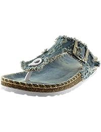 Angkorly Scarpe Moda Sandali Infradito Slip-On Jeans Denim Donna  sfilacciato Strappati Fibbia Tacco Zeppa de7e7d1eeb7