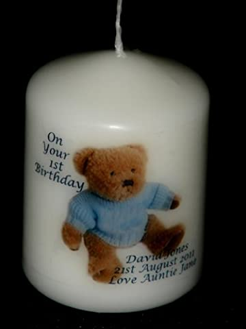 Personalised Blue Teddy Bear Candle for Baby Boy, has your own message for any occasion, Christening, Baptism, Naming Day, New baby boy