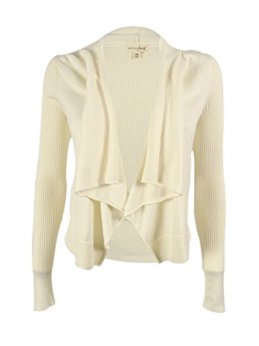 Maison Jules Women's Open Draped Front Cropped Cardigan (XS, Egret) (Front Cardigan Cropped)