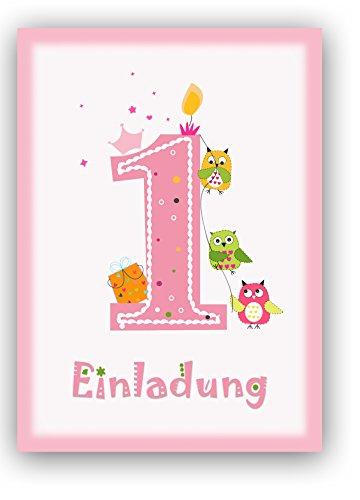 ... 12 Einladungskarten Kindergeburtstag Zum 1. Geburtstag In Rosa Mit Eulen    Geburtstagseinladung Mit Eule Für ...