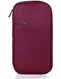 Lyanther Paquete de Tarjeta de Nylon Impermeable Cartera de Documentos de Viaje Bolsa de Pasaporte de múltiples Funciones Paquete de Documento de Viaje Portátil Paquete de Pasaporte (Rojo)