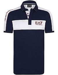 Emporio Armani EA7 - Polo homme manches courtes bleu marine en coton piqué