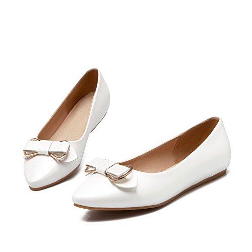AllhqFashion Femme Matière Souple Tire Pointu à Talon Bas Mosaïque Chaussures Légeres Blanc