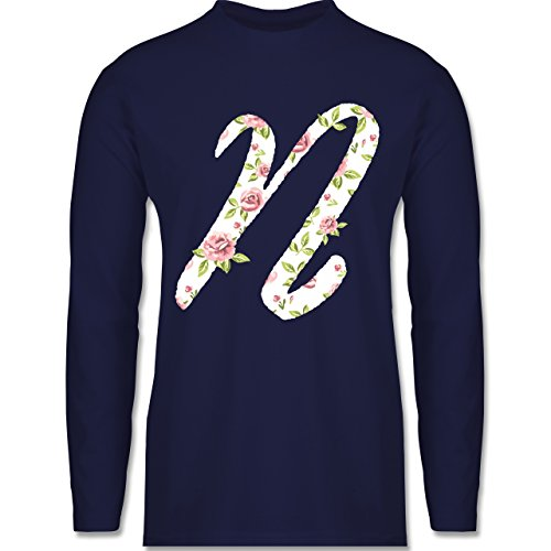 Shirtracer Anfangsbuchstaben - N Rosen - Herren Langarmshirt Navy Blau