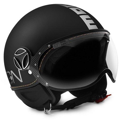 Casco de moto demi-jet Momo Design:Fighter Evo color negro mate/blanco, talla S