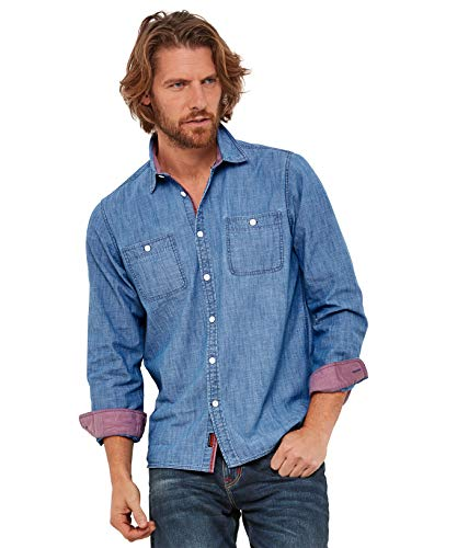 Chambray-utility Shirt (Joe Browns Herren Schlichtes Utility-Shirt Blau XL)