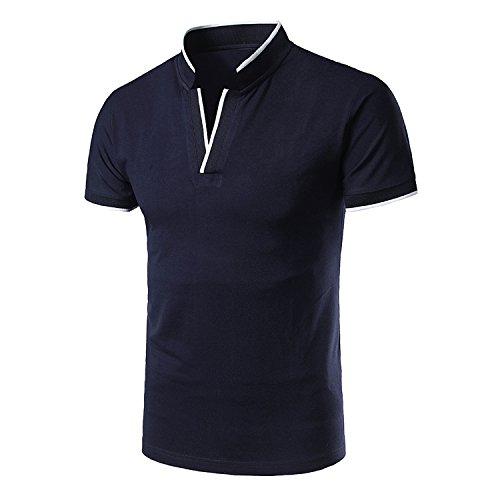 Showu polo uomo top a maniche corte basic tennis t-shirt (marina, m)
