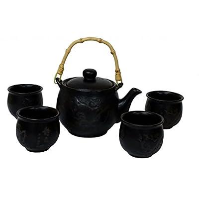 Théière chinoise avec des tasses - Branches de fleur de prunier gravé sur théière noire et tasses - Porcelaine de style chinois