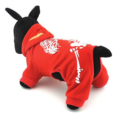 e Skelett Mit Kapuze Kleinen Hund Overall Hoodie Welpen Winter Jacke Mantel Haustier Kleidung Bekleidung Halloween Kostüme Rot XL (Cute Billig Baby Halloween-kostüme)