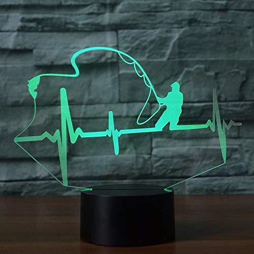 Herzschlag Form Tischlampe Led, 3D Nachtlicht, 7 Colorscreative Angeln Enthusiast Lampe Touch Schalter Kinder Geschenk Hause Wohnzimmer Beleuchtung Dekor -