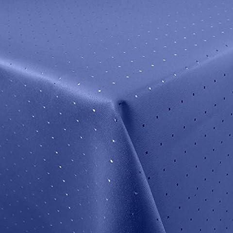 Tischdecke Damast Punkte 110x160cm eckig bügelarm königsblau (Königsblau Tischdecke)