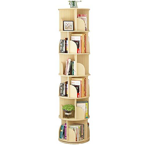 Bücherregal Mehrschichtiges, um 360 ° drehbares, Bücherschrank für Kinder, Aufbewahrungsständer für Corner Organizer, Kiefer (Size : 6-Tier) -