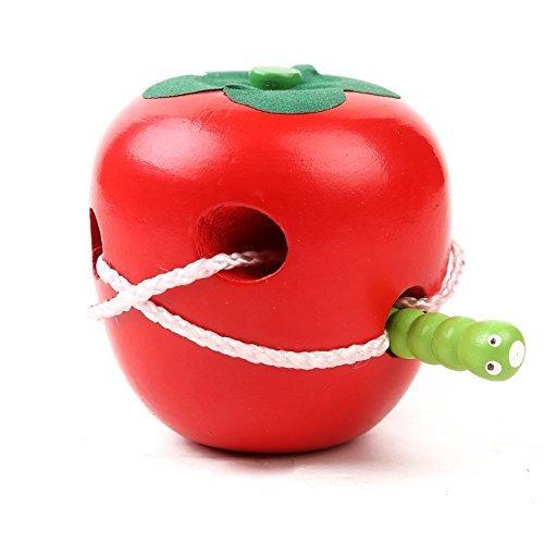 Daorier Jeu d'exploration Jeu de patience de Laçage Pomme à Enfiler Jouet éducatif en Bois Pour Bébé Enfants