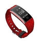 KingProst-Fitness Smartwatch Bluetooth Aktivitätstracker Schrittzähler Uhr Für Männer Damen Fitness Armband mit Pulsmesser Kompatibel mit iOs und Android (Rot)