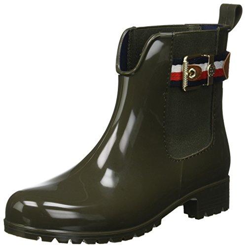 Tommy Hilfiger Damen Corporate Belt Rain Boot Gummistiefel, Grün (Military 302), 37 EU