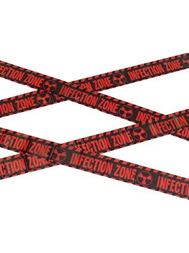 021Zombie Infektionen Zone CAUTION Tape, rot/schwarz, Einheitsgröße (Zombie Absperrband)