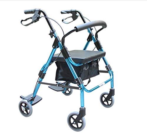 CHAIR Medizinischer Reha-Stuhl, Rollstuhl, Leichter Klapprollstuhl 4-Rad-Booster Mit Bremse Und Tragetasche Mit Pedal Grenzüberschreitendes Reisen Einkaufen, Blau -