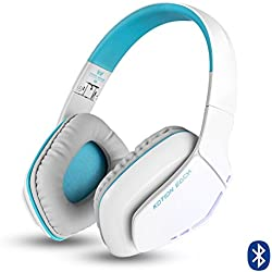 KOTION EACH Auriculares Bluetooth Estéreo Inalámbricos Plegables con Conexión de Cable B3506 (Micrófono, manos libres, Gaming Headset V4.1 con Micrófono para Iphone7, 7S Plus 6 6S, 6S Plus Samsung, Smartphones Android, Tablet, PC, PS4, Ordenadores, MAC y Laptop(Blanco+Azul)
