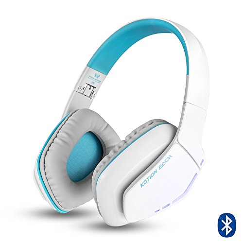 Cuffie Wireless Bluetooth KOTION EACH Gameing per PS4, Xbox One S, PC, Tablet, iPhone 5/5s 6/6S plus 7, Samsung S3/S4,HTC, Huawei, LG, Xiaomi, ipad e Mac Pieghevoli con Microfono Bianco e Blu