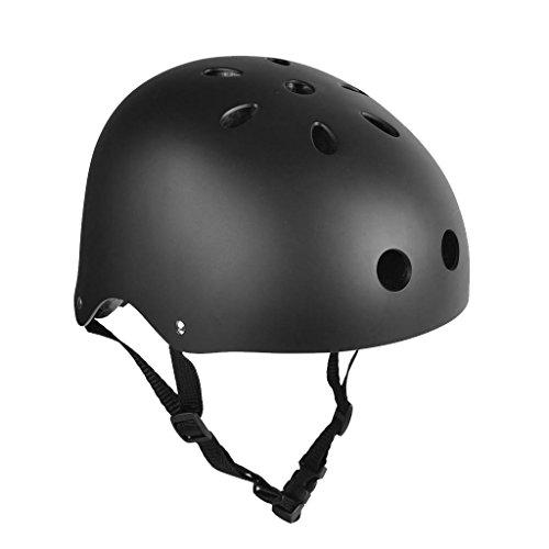 Casco Protector de Ciclismo Patinaje Esquí Patineta Deporte (Negro, M)