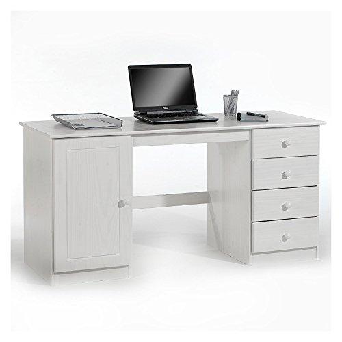 IDIMEX Schreibtisch Computertisch PC-Schreibtisch, Kiefer massiv in weiß lackiert mit vier