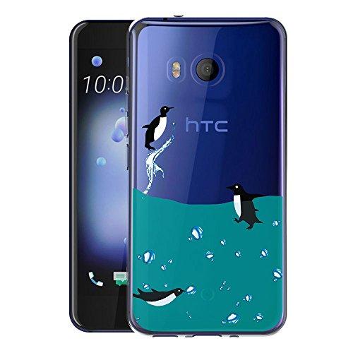 Custodia Cover Per HTC U11 WenJie Adorabile pinguino Silicone Sottile Back Case Molle di TPU Trasparente per HTC U 11