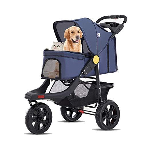 JHG Haustier Kinderwagen Pet Stroller, 3 Wheeled Faltbarer Hund Katze Pram Carts Kinderwägen Mit Becherhalter, for Medium Large Dog Reisen, Max Loading 25kg (Color : Blue)