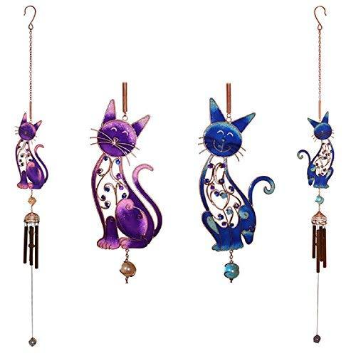 Cat Mad Gifts EINER schönen handgearbeiteten Metall, Glas & Kunstharz Windspiel in eine Katze Design. 2Designs erhältlich.