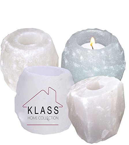 4 White Salt Candle Tea Light Holders (Bundle) by Klass Home Collection®