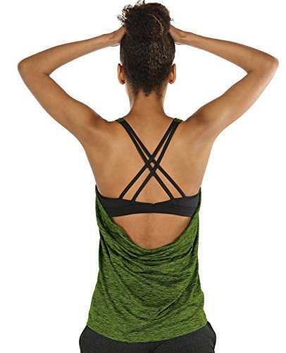 icyzone Damen Sport Tops mit Integriertem BH - 2 in 1 Yoga Gym Shirt Fitness Training Tanktop (M, Green Heather)