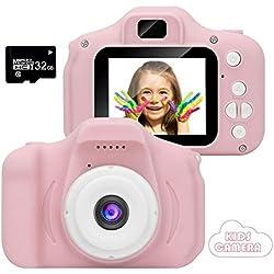 CAMORO améra Enfant, caméra vidéo/vidéo 1080p HD, écran LCD 2 Pouces, EST livré avec Une Carte mémoire 32G (ROSE-21)