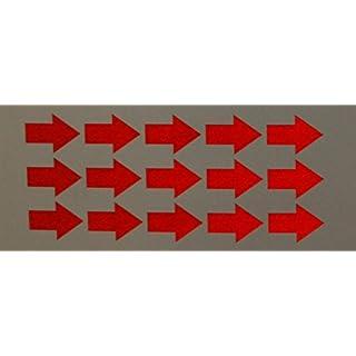 """Reflektierendes Aufkleberset """"Pfeile, 15 Stück, rot"""", reflex_008_rot, 3,5x2,5cm. Reflexion, Leuchtaufkleber, Aufkleber für Bike, Helm, Auto, Sicherheit für Kinder"""