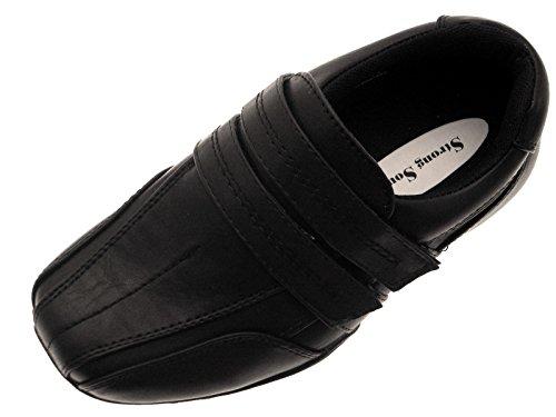 Schwarz Jungen Klettverschluss Kinder Kinder Sneaker Jungen Schwarz Kunstleder nwCq4q8x0