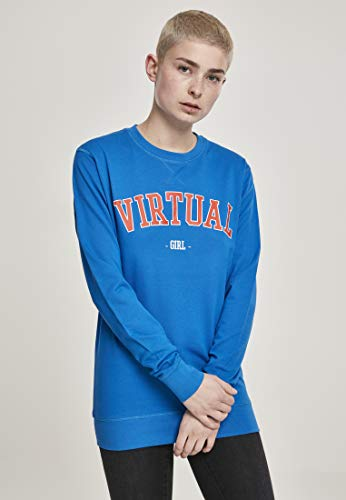 Mister Tee Damen Virtual Girl Crewneck Sweatshirt, Cobalt Blue, XXL Blue Kids Crewneck Sweatshirt