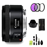 GYTE Bundle - Obiettivo Canon EF 50 mm 1:1,8 STM, obiettivo a lunghezza focale fissa per fotocamera reflex Canon + 3 filtri + kit di pulizia