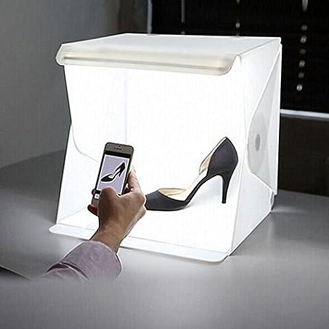 AUTOPKIO Folding lightbox Studio portatile con illuminazione a LED, la fotografia di illuminazione Kit tenda, 40 x 40 x 40cm / 16