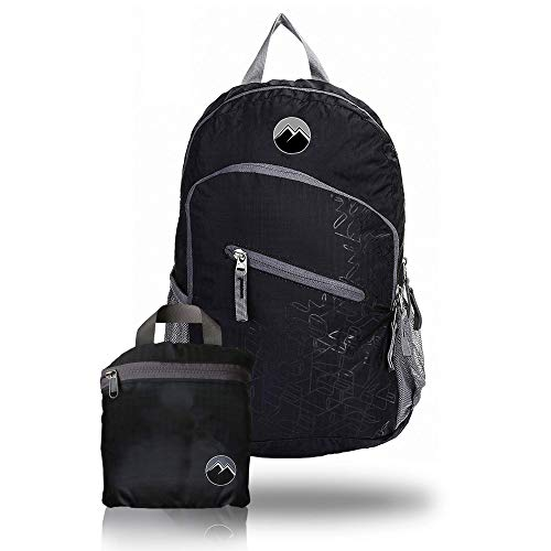 Mountain Break Tagesrucksack faltbar schwarz für Damen und Herren, 20L