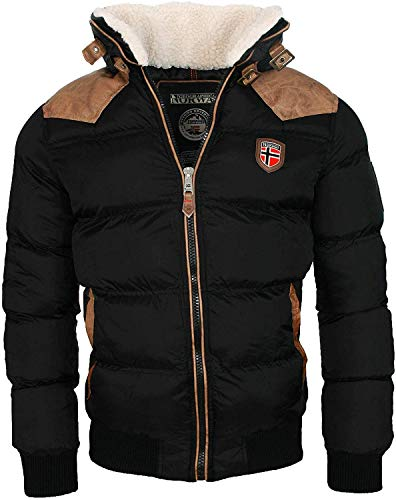 Geographical Norway warme Winterjacke Designer Herren Winter Stepp Jacke [GeNo-31-Schwarz-Gr.XL]
